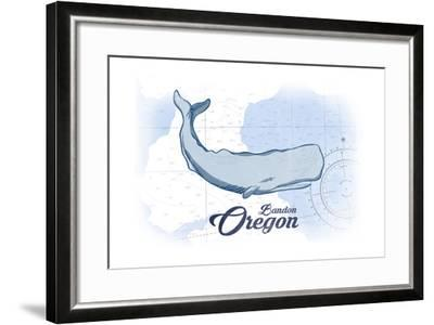 Bandon, Oregon - Whale - Blue - Coastal Icon-Lantern Press-Framed Art Print