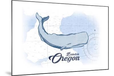 Bandon, Oregon - Whale - Blue - Coastal Icon-Lantern Press-Mounted Art Print