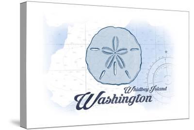Whidbey Island, Washington - Sand Dollar - Blue - Coastal Icon-Lantern Press-Stretched Canvas Print