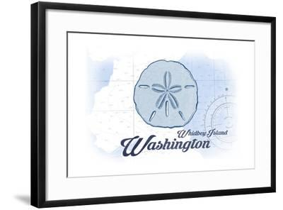 Whidbey Island, Washington - Sand Dollar - Blue - Coastal Icon-Lantern Press-Framed Art Print