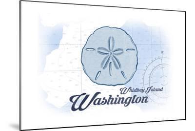 Whidbey Island, Washington - Sand Dollar - Blue - Coastal Icon-Lantern Press-Mounted Art Print