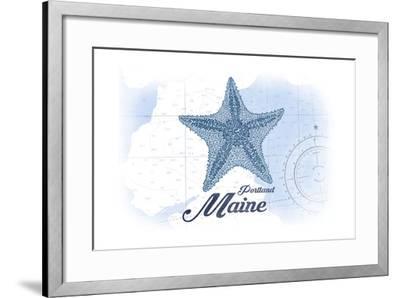 Portland, Maine - Starfish - Blue - Coastal Icon-Lantern Press-Framed Art Print