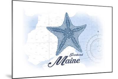 Portland, Maine - Starfish - Blue - Coastal Icon-Lantern Press-Mounted Art Print