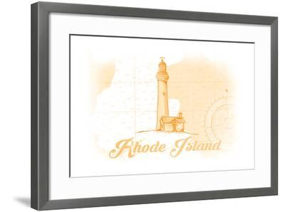 Rhode Island - Lighthouse - Yellow - Coastal Icon-Lantern Press-Framed Art Print