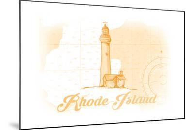 Rhode Island - Lighthouse - Yellow - Coastal Icon-Lantern Press-Mounted Art Print