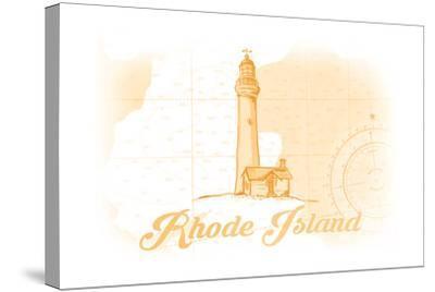 Rhode Island - Lighthouse - Yellow - Coastal Icon-Lantern Press-Stretched Canvas Print