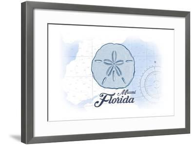 Miami, Florida - Sand Dollar - Blue - Coastal Icon-Lantern Press-Framed Art Print