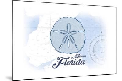 Miami, Florida - Sand Dollar - Blue - Coastal Icon-Lantern Press-Mounted Art Print