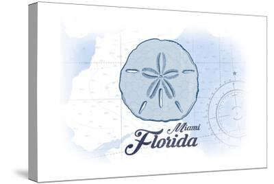 Miami, Florida - Sand Dollar - Blue - Coastal Icon-Lantern Press-Stretched Canvas Print