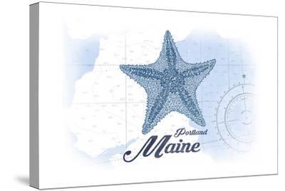 Portland, Maine - Starfish - Blue - Coastal Icon-Lantern Press-Stretched Canvas Print