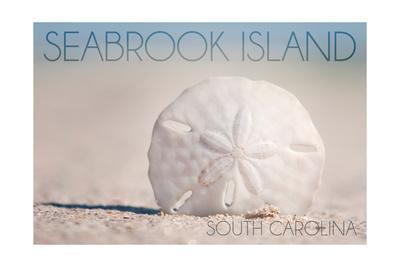 Seabrook Island, South Carolina - Sand Dollar and Beach-Lantern Press-Framed Art Print