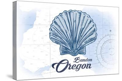 Bandon, Oregon - Scallop Shell - Blue - Coastal Icon-Lantern Press-Stretched Canvas Print