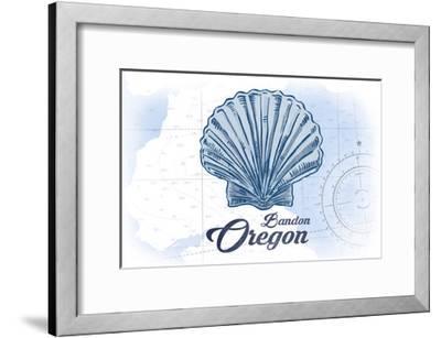 Bandon, Oregon - Scallop Shell - Blue - Coastal Icon-Lantern Press-Framed Art Print