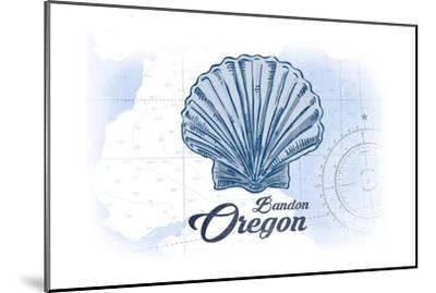Bandon, Oregon - Scallop Shell - Blue - Coastal Icon-Lantern Press-Mounted Art Print