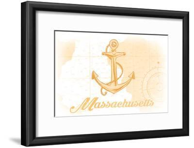 Massachusetts - Anchor - Yellow - Coastal Icon-Lantern Press-Framed Art Print