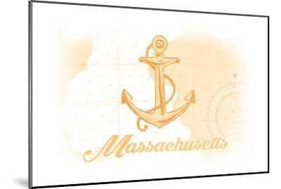 Massachusetts - Anchor - Yellow - Coastal Icon-Lantern Press-Mounted Art Print
