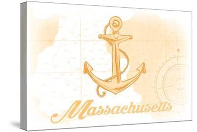 Massachusetts - Anchor - Yellow - Coastal Icon-Lantern Press-Stretched Canvas Print
