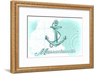 Massachusetts - Anchor - Teal - Coastal Icon-Lantern Press-Framed Art Print