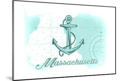 Massachusetts - Anchor - Teal - Coastal Icon-Lantern Press-Mounted Art Print