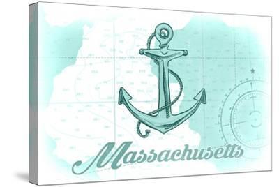 Massachusetts - Anchor - Teal - Coastal Icon-Lantern Press-Stretched Canvas Print