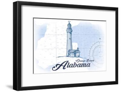 Orange Beach, Alabama - Lighthouse - Blue - Coastal Icon-Lantern Press-Framed Art Print