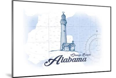 Orange Beach, Alabama - Lighthouse - Blue - Coastal Icon-Lantern Press-Mounted Art Print