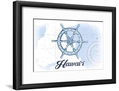 Hawaii - Ship Wheel - Blue - Coastal Icon-Lantern Press-Framed Art Print
