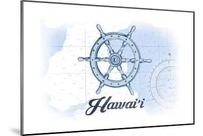 Hawaii - Ship Wheel - Blue - Coastal Icon-Lantern Press-Mounted Art Print