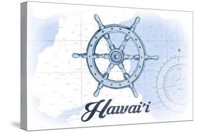 Hawaii - Ship Wheel - Blue - Coastal Icon-Lantern Press-Stretched Canvas Print