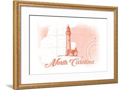 North Carolina - Lighthouse - Coral - Coastal Icon-Lantern Press-Framed Art Print