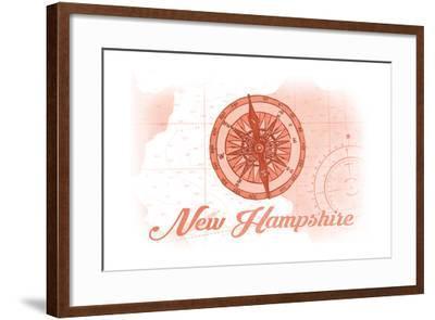 New Hampshire - Compass - Coral - Coastal Icon-Lantern Press-Framed Art Print