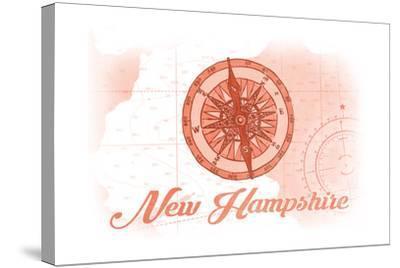 New Hampshire - Compass - Coral - Coastal Icon-Lantern Press-Stretched Canvas Print