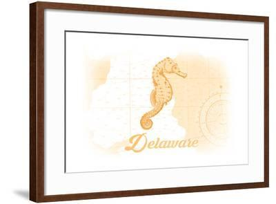 Delaware - Seahorse - Yellow - Coastal Icon-Lantern Press-Framed Art Print