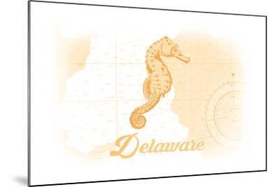 Delaware - Seahorse - Yellow - Coastal Icon-Lantern Press-Mounted Art Print