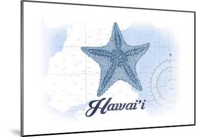 Hawaii - Starfish - Blue - Coastal Icon-Lantern Press-Mounted Art Print
