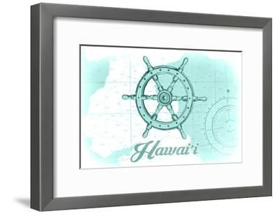 Hawaii - Ship Wheel - Teal - Coastal Icon-Lantern Press-Framed Art Print
