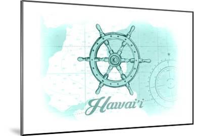 Hawaii - Ship Wheel - Teal - Coastal Icon-Lantern Press-Mounted Art Print