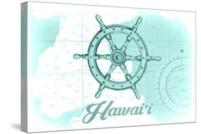 Hawaii - Ship Wheel - Teal - Coastal Icon-Lantern Press-Stretched Canvas Print
