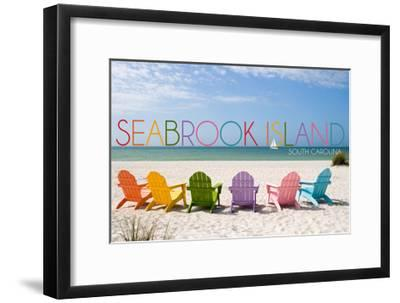 Seabrook Island, South Carolina - Colorful Beach Chairs-Lantern Press-Framed Art Print
