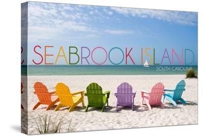 Seabrook Island, South Carolina - Colorful Beach Chairs-Lantern Press-Stretched Canvas Print