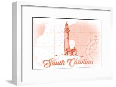 South Carolina - Lighthouse - Coral - Coastal Icon-Lantern Press-Framed Art Print