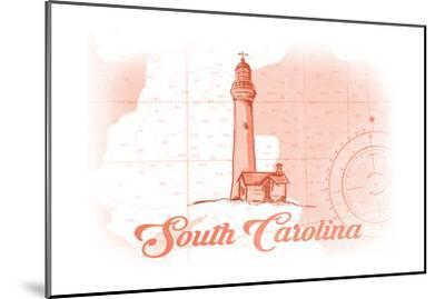 South Carolina - Lighthouse - Coral - Coastal Icon-Lantern Press-Mounted Art Print