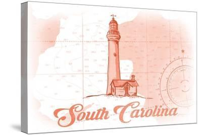 South Carolina - Lighthouse - Coral - Coastal Icon-Lantern Press-Stretched Canvas Print
