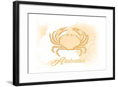 Alabama - Crab - Yellow - Coastal Icon-Lantern Press-Framed Art Print