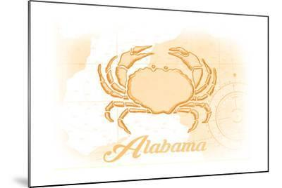 Alabama - Crab - Yellow - Coastal Icon-Lantern Press-Mounted Art Print