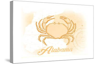Alabama - Crab - Yellow - Coastal Icon-Lantern Press-Stretched Canvas Print