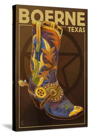 Boerne, Texas - Boot and Star-Lantern Press-Stretched Canvas Print