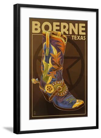 Boerne, Texas - Boot and Star-Lantern Press-Framed Art Print