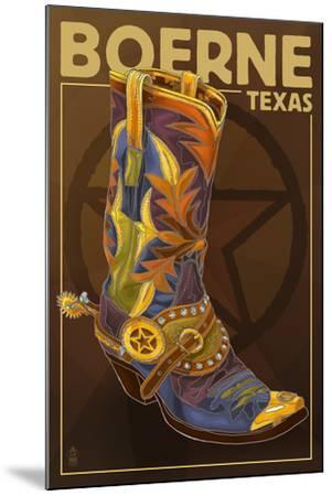 Boerne, Texas - Boot and Star-Lantern Press-Mounted Art Print