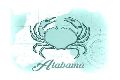 Alabama - Crab - Teal - Coastal Icon-Lantern Press-Framed Art Print